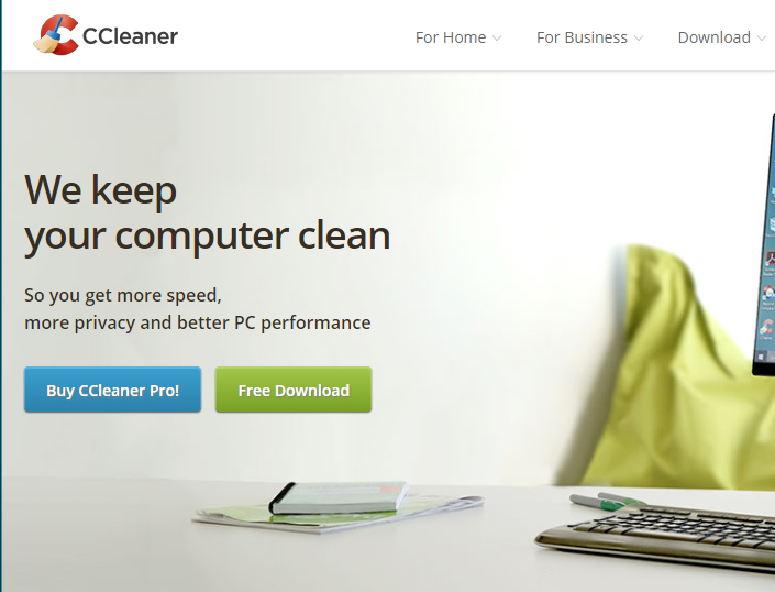 Screen capture of the CCleaner home page.