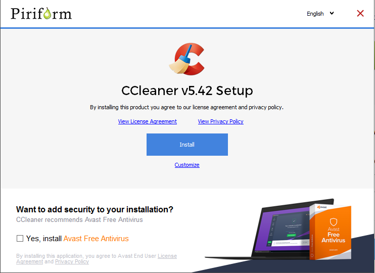 Screen capture of the CCleaner installation program.
