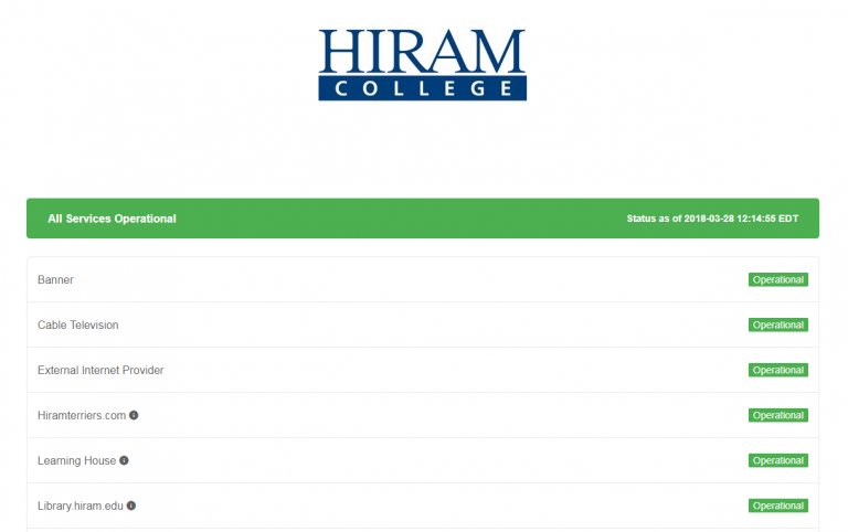 A screen capture of Hiram's Service Status Page.